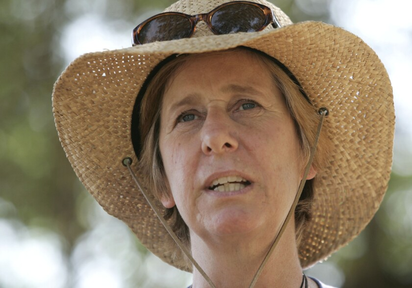 "Antiwar activist Cindy Sheehan meets with reporters in Crawford, Texas, during the opening of ""Camp Casey"" on Sheehan's new property near former President Bush's ranch."