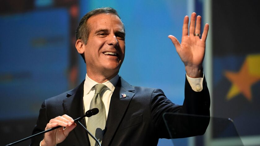 Los Angeles Mayor Eric Garcetti speaks at the 2018 California Democrats State Convention Saturday, Feb. 24, 2018, in San Diego.