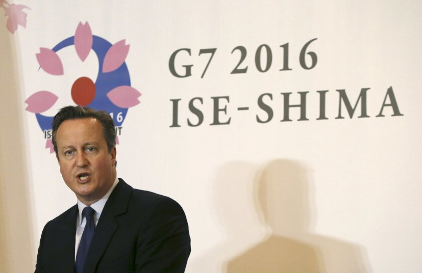 Britain's Prime Minister David Cameron speaks during a press briefing following the G-7 summit in Shima, central Japan, Friday, May 27, 2016. A possible exit from the European Union by Britain, depending on a June 23 vote, is also hanging over the talks. (AP Photo/Eugene Hoshiko)
