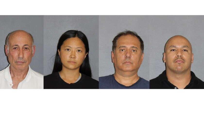 Booking photos of four defendants, left to right, a 71-year-old man, a 37-year-old woman, a 54-year-old man, and a 34-year-old man.