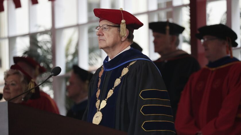 C. L. Max Nikias at The University of Southern California's commencement ceremony on May 11.