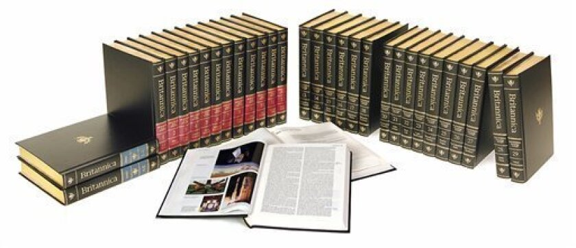 This undated photo provided April 5, 2012, by Chicago-based Encyclopaedia Britannica, shows the 2010 32-volume final print edition of the Encyclopaedia Britannica. Three weeks after announcing it will discontinue its print editions after 244 years, people have been scrambling to buy the last edition. A spokesman says all by 800 of the last 4,000 sets have been sold. (AP Photo/Courtesy Encyclopaedia Britannica)