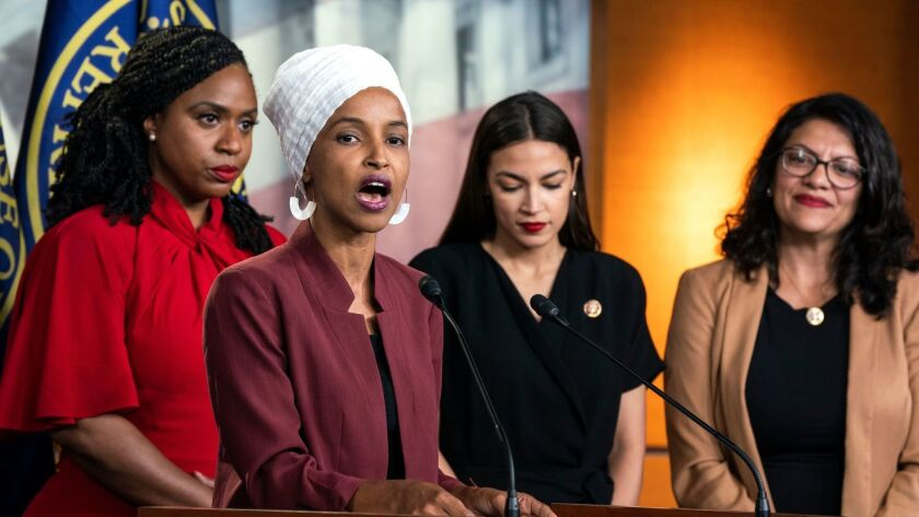 President Trump tells minority congresswomen to 'go back' to their home countries, Washington, USA - 15 Jul 2019