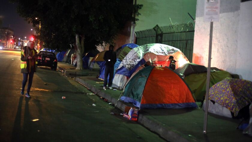 Homeless people's tents on the street in Los Angeles.