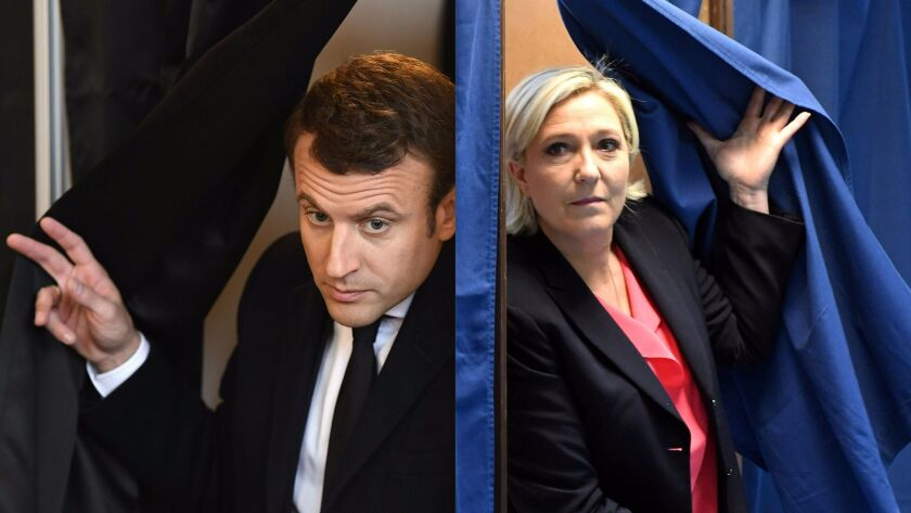 This combination of pictures shows French presidential candidates Emmanuel Macron, left, and Marine