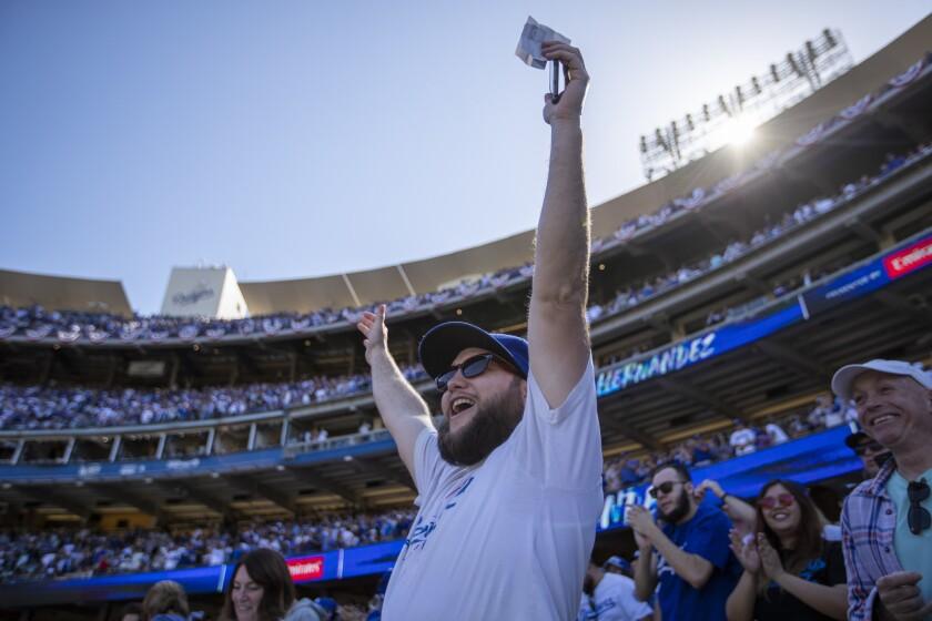 LOS ANGELES, CALIF. -- THURSDAY, MARCH 28, 2019: Dodgers fan Elliott Kirschenmann, of Bakersfield, c