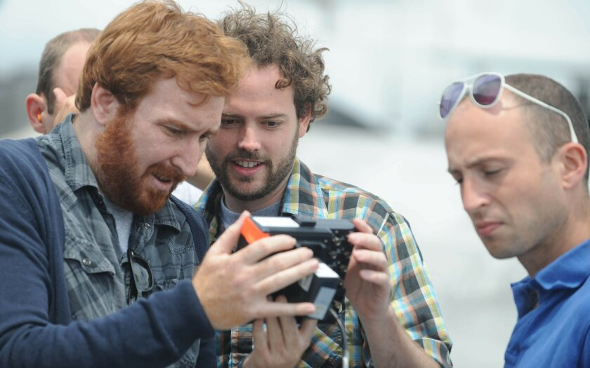 "Left to right: director of photography John Guleserian with co-writer/director Drake Doremus on the set of ""Like Crazy."" Photo credit: Fred Hayes"