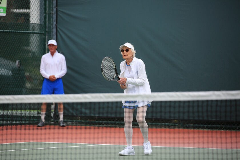 La Jolla resident Sally Fuller, 91, is ranked No. 2 nationally in tennis for her age group.