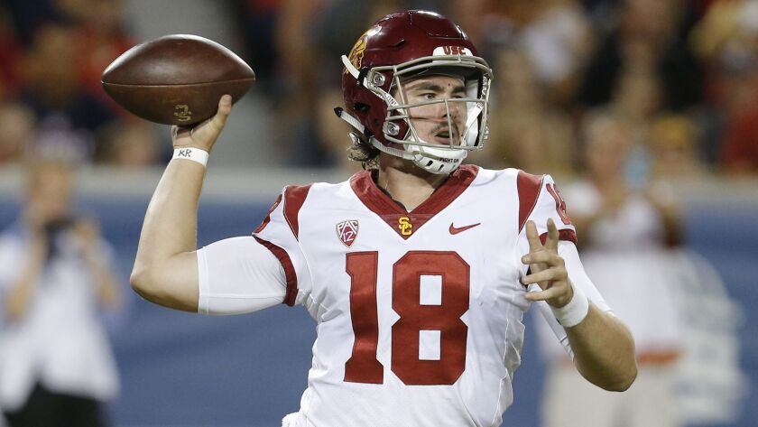 USC quarterback JT Daniels prepares to pass in the first half against Arizona on Saturday in Tucson.