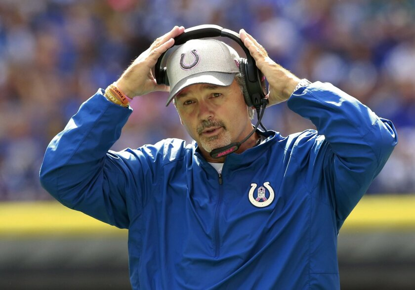 FILE - In this Oct. 4, 2015, file photo, Indianapolis Colts head coach Chuck Pagano watches the first half of an NFL football game against the Jacksonville Jaguars, in Indianapolis. With 21 teams not owning winning records through eight weeks, it's no wonder coaches from coast to coast are on the f