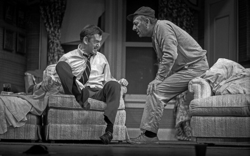 "Felix Unger (Tony Randall) throws a fit as a concerned but relaxed Oscar Madison (Jack Klugman) looks on in ""The Odd Couple,"" Neil Simon's comedy, playing in December 1975 at the Shubert Theatre in Los Angeles."