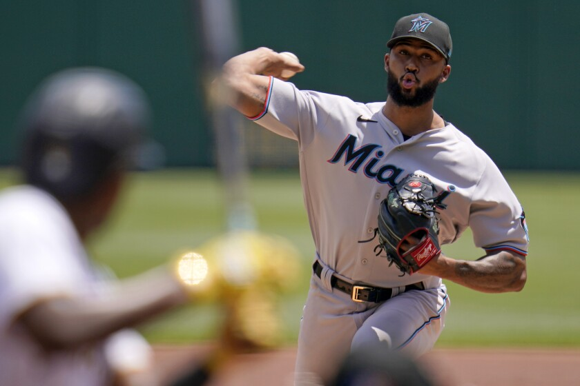 Miami Marlins starting pitcher Sandy Alcantara delivers during the second inning of a baseball game against the Pittsburgh Pirates in Pittsburgh, Sunday, June 6, 2021. (AP Photo/Gene J. Puskar)
