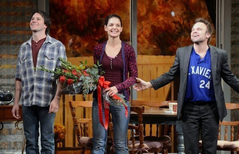 """Josh Hamilton, left, Katie Holmes and Norbert Leo Butz take their curtain call during the """"Dead Accounts"""" Broadway opening night at the Music Box Theatre."""