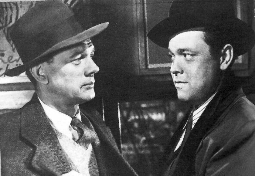"Joseph Cotten as Holly Martins and Orson Welles as Harry Lime in director Carol Reed's ""The Third Man,"" 1949."
