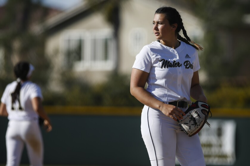 Mater Dei softball first baseman Lexi Sosa (18) looks on in the third inning against Grossmont on Friday, March 15th, 2019
