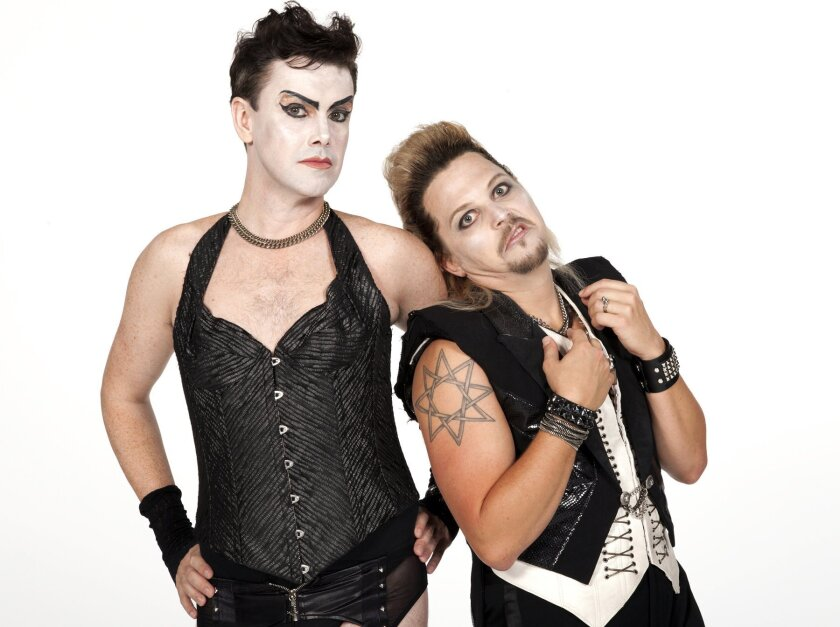 Matt McGrath as Frank 'N' Furter and Jason Wooten as Riff Raff. Henry DiRocco