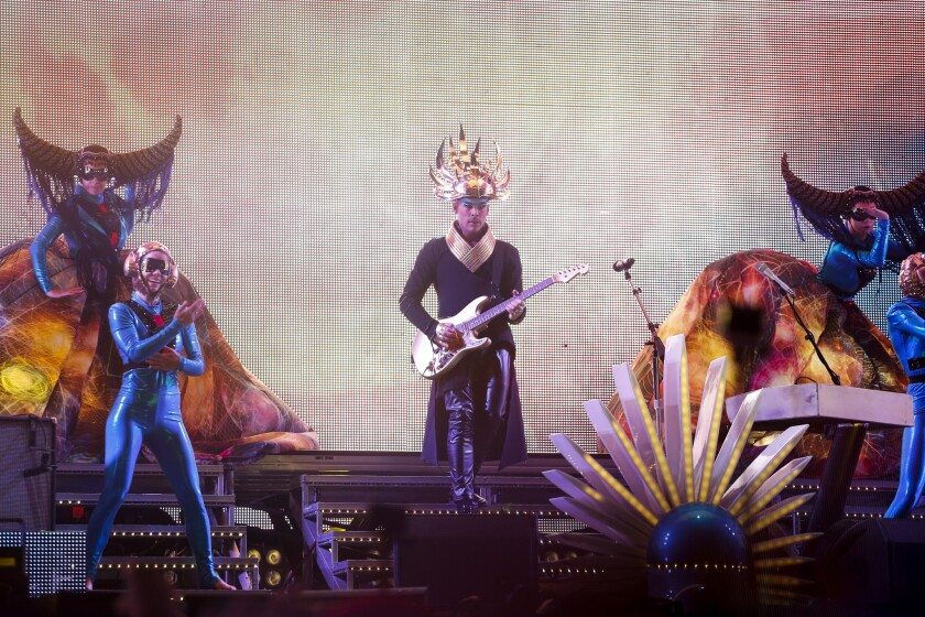 Empire of the Sun performs in the Sahara Tent, on the second day of the second weekend of the Coachella Valley Music and Arts Festival, at the Empire Polo Club in Indio, April 19, 2014.