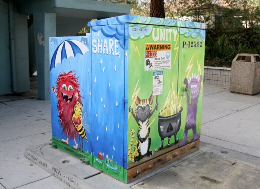Art-covered utility box in Burbank