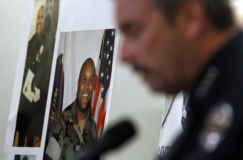 LAPD Chief Charlie Beck talks to reporters about Christopher Dorner, pictured at left, a former LAPD officer who went on a shooting rampage in February.