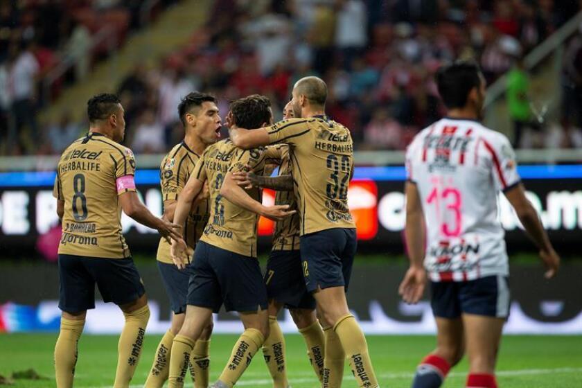 Jugadores de Pumas festejan una anotación ante Chivas. EFE/Archivo