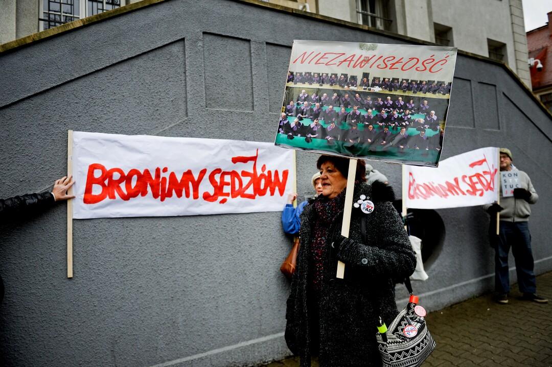 Demonstrators outside court in Katowice