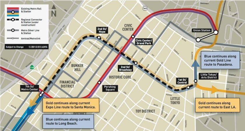 The planned route of the 1.9-mile Downtown Regional Connector, which will link the 7th Street transit hub with Union Station.