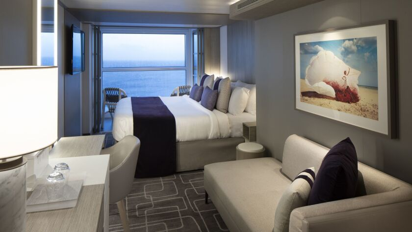 Celebrity Edge's stateroom design with Infinite Veranda, where with the touch of a button, the entire living space becomes the veranda.