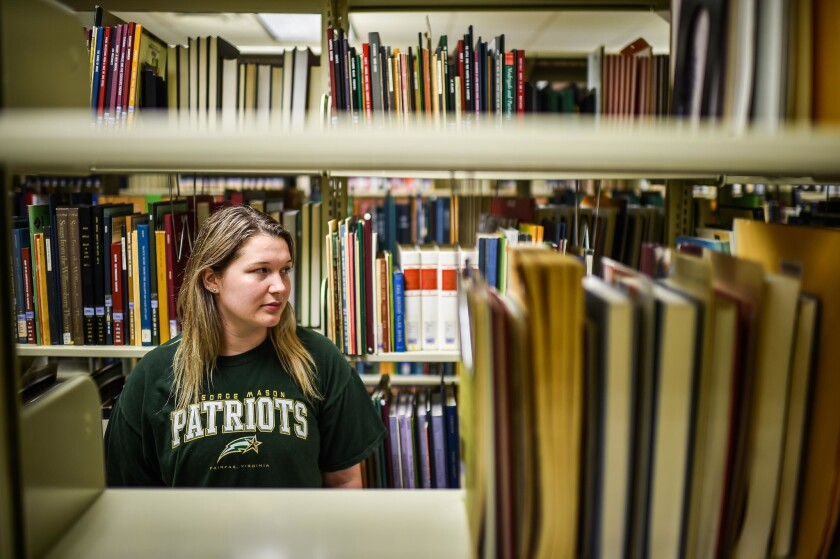 "Katie Otersen, 23, attends George Mason University in Virginia but struggles with past-due bills. ""I'm so overwhelmed. I just finished paying the collection fee. School starts in less than a month and I still have to come up with the rest,"" she said."