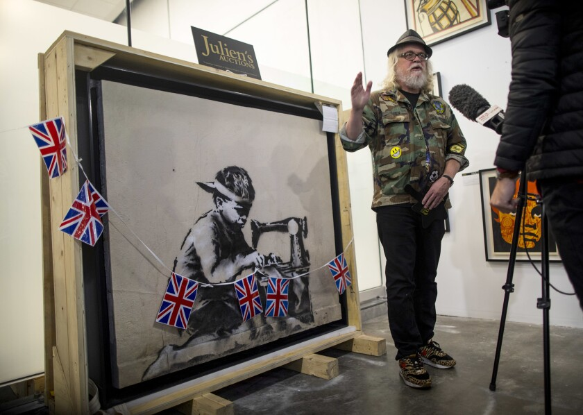 """Ron English stands by """"Slave Labour,"""" the Banksy piece that English purchased at auction and then announced he wanted to whitewash."""