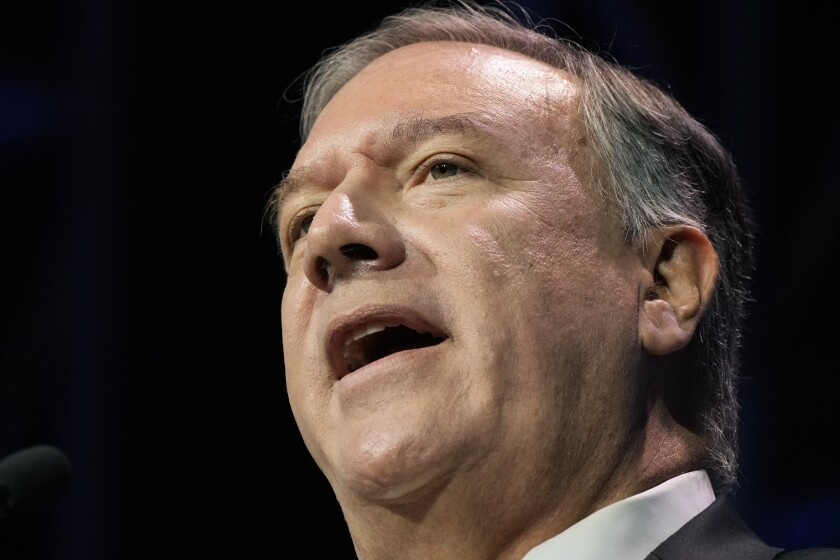 Former Secretary of State Mike Pompeo speaks during the Family Leadership Summit, Friday, July 16, 2021, in Des Moines, Iowa. (AP Photo/Charlie Neibergall)