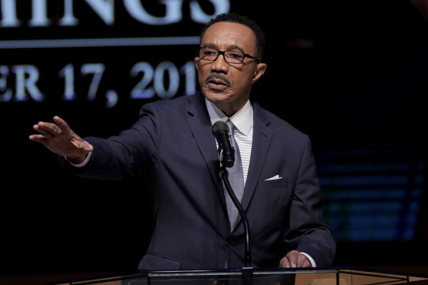 FILE - In a Friday, Oct. 25, 2019 file photo, Kwiesi Mfume, board chairman of Morgan State University, speaks during funeral services for Rep. Elijah Cummings, in Baltimore. Mfume said Monday, Nov. 4, 2019 he will run for the Maryland congressional seat that became vacant with the death of U.S. Rep. Elijah Cummings. (AP Photo/Julio Cortez, Pool, File)