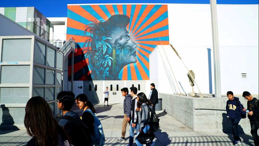 The mural in question at the Robert F. Kennedy Community Schools in Los Angeles on Dec. 7.