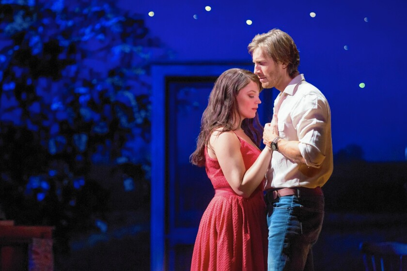 """Elizabeth Stanley and Andrew Samonsky in """"The Bridges of Madison County"""" at the Center Theatre Group/Ahmanson Theatre."""