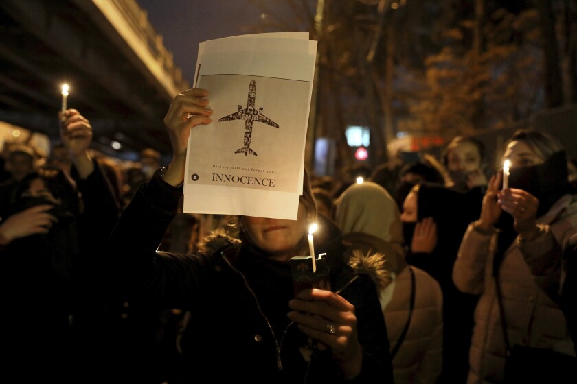 Protests over plane crash in Iran