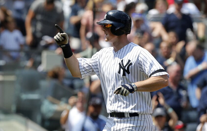 The Yankees' DJ LeMahieu celebrates against the Red Sox on Aug. 3.