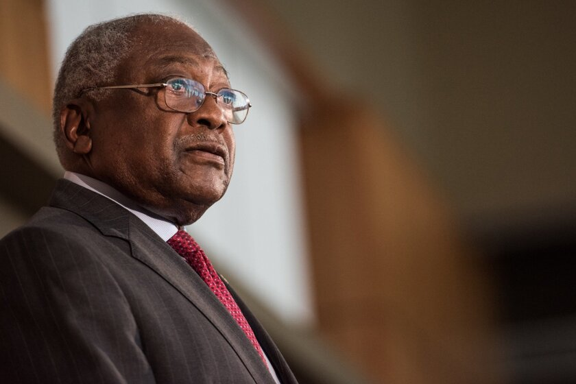 FILE - In this Nov. 23, 2015 file photo Assistant House Minority Leader James Clyburn speaks at the University of South Carolina in Columbia, S.C. Clyburn is endorsing Democratic presidential candidate Hillary Clinton, smoothing over a rift from eight years ago. Clyburn's endorsement came as a surp