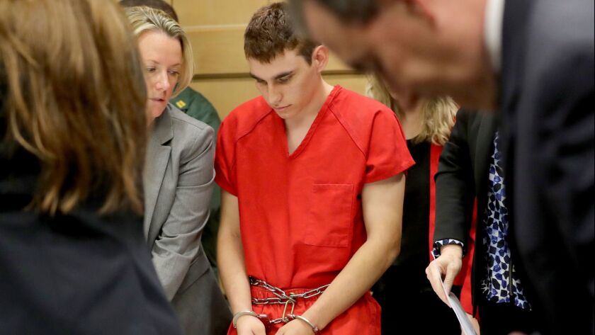 Nikolas Cruz appears in court for a status hearing before Broward Circuit Judge Elizabeth Scherer in