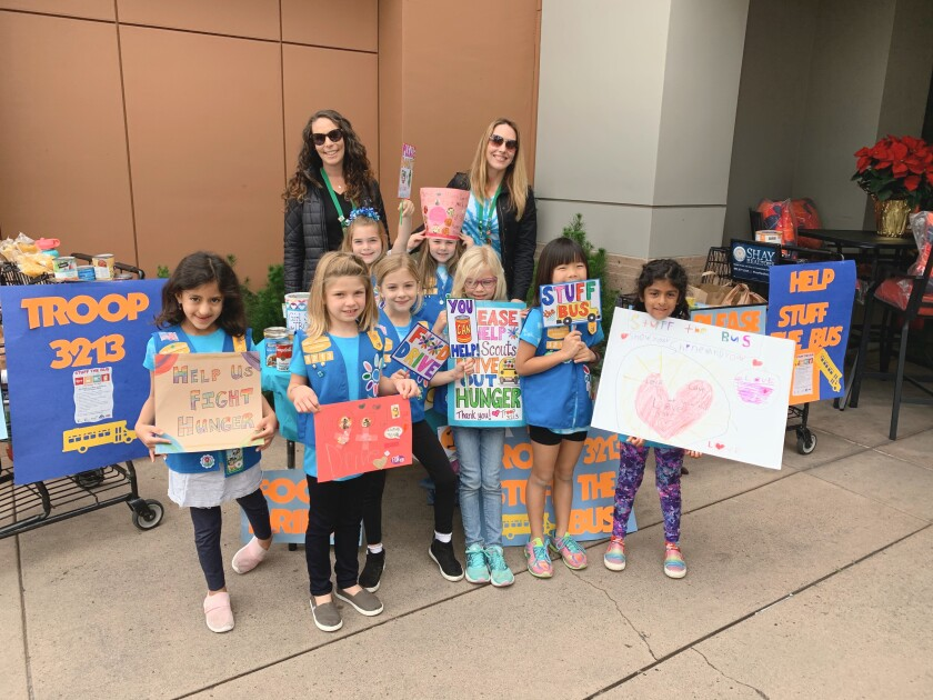 Local Daisy Troop 3213 had a successful Stuff the Bus drive in Carmel Valley.