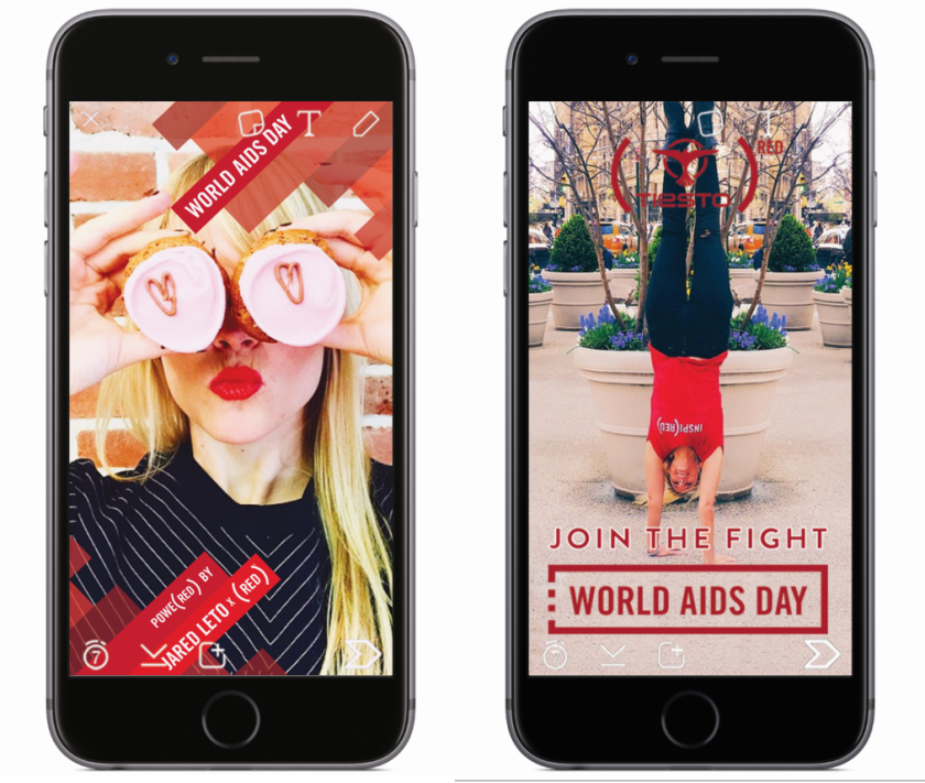 """Snapchat users on Tuesday will see """"World AIDS Day"""" geofilters, featuring designs from entertainers Jared Leto, Jimmy Kimmel and Tiesto."""