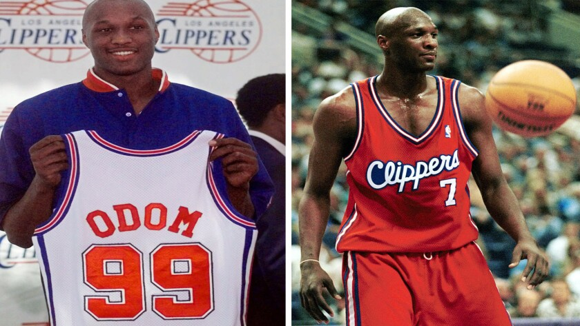 Left: Lamar Odom holds up a Los Angeles Clippers jersey with his name on it during a Clippers news conference July 1, 1999. Right: Rookie Odom is seen during a game against the Phoenix Suns on Oct. 19, 1999.