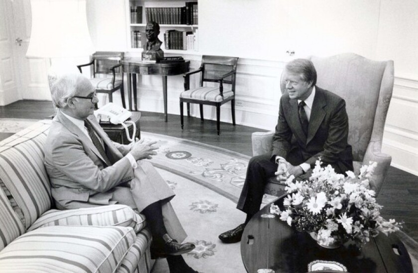 Los Angeles attorney Edward Sanders, left, served President Carter as a special advisor on the Middle East and worked on the President's Commission on the Holocaust.