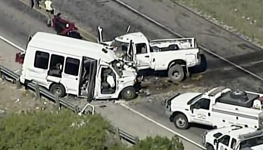 Authorities respond to a deadly crash involving a minibus carrying church members and a pickup truck on U.S. 83 in Texas.