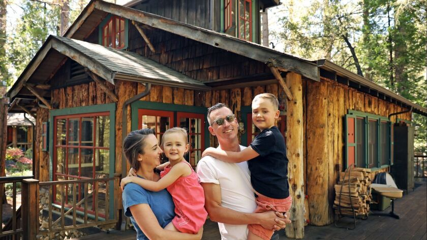 IDYLLWILD-CA-JUNE 28, 2018: The home of the Donovan family; Catherine, left, with Bon, 4, and Michae