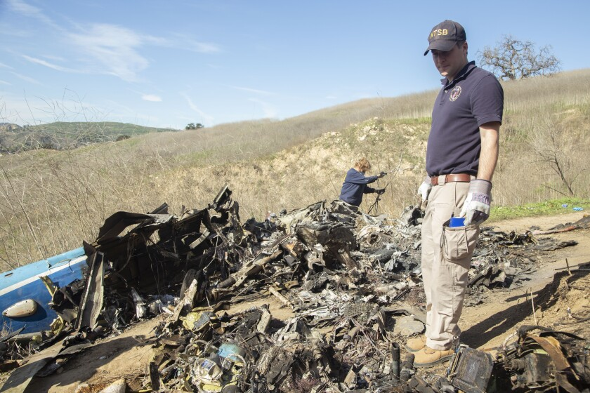The wreckage of the Jan. 26 helicopter crash in which Kobe Bryant and eight other people were killed.