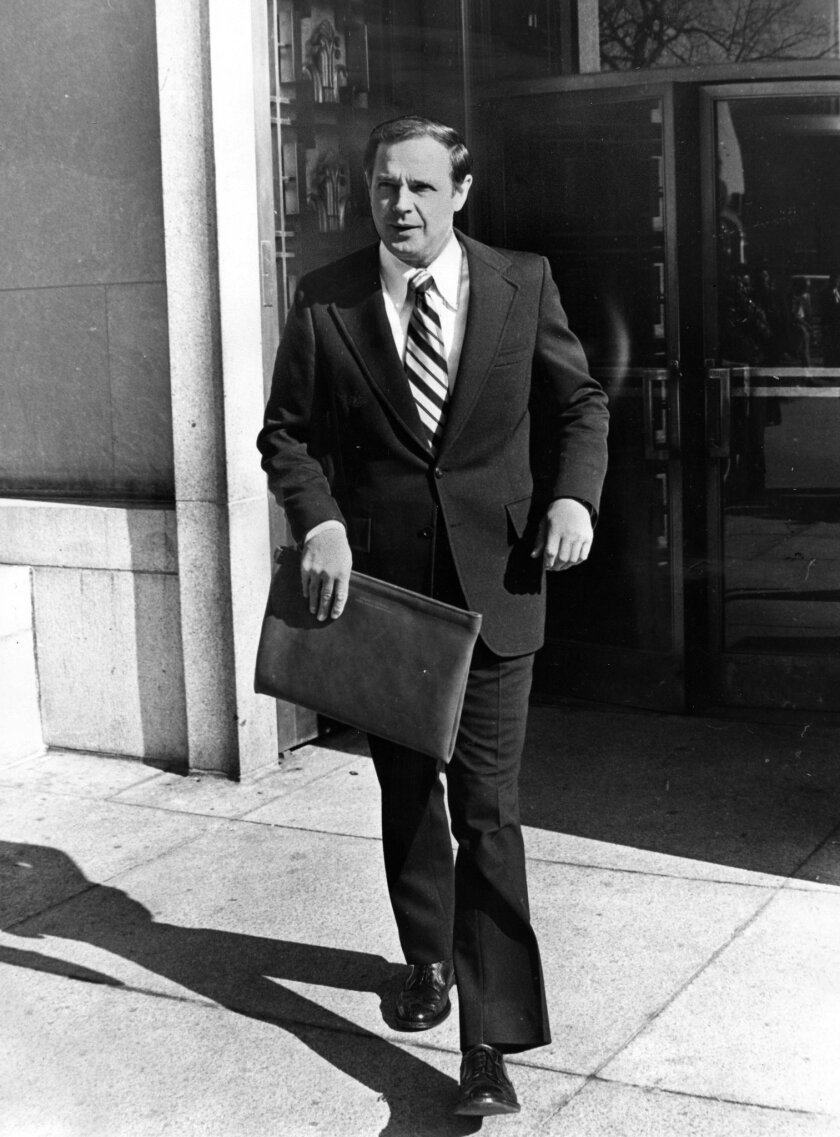 Alexander Butterfield arrives at U.S. District Court to testify in the Watergate scandal in Washington, D.C., on Nov. 6, 1974.