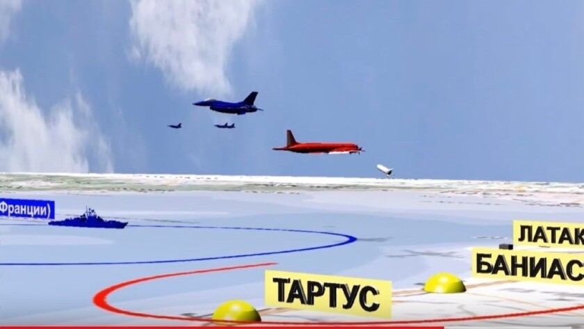 A computer simulation from the Russian Defense Ministry purports to show Israeli jets near the Russian reconnaissance plane, shown in red, off Syria's coast before it was accidentally shot down by Syrian forces last week, killing all 15 aboard.