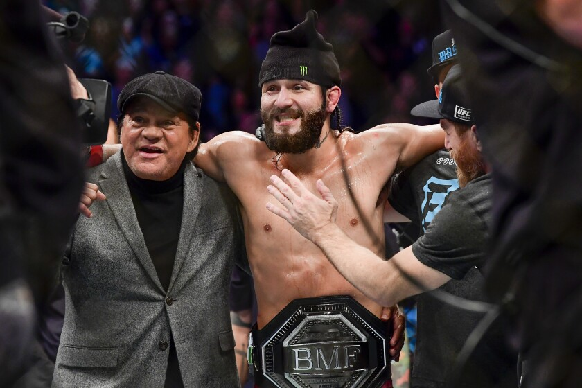 "Jorge Masvidal is awarded victory by TKO on a medical stoppage against Nate Diaz in the welterweight ""BMF"" championship bout during UFC 244 on Saturday."