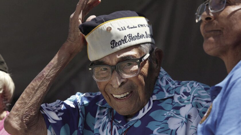 Poway resident Ray Chavez, photographed at a Pearl Harbor memorial ceremony in San Diego in 2017. The name of Chavez, who was the nation's oldest Pearl Harbor veteran before his death at age 106 in November 2018, may soon adorn the Poway post office, if a bill submitted by U.S. Rep Scott Peters is approved.