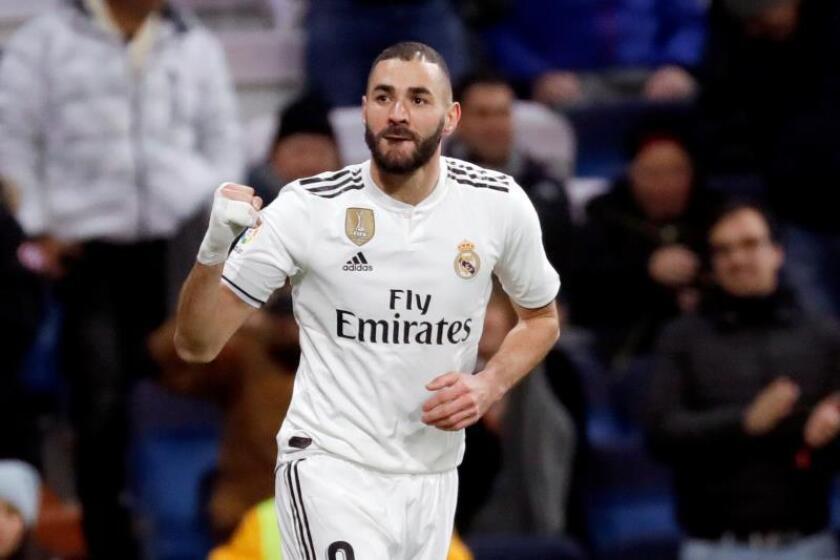 El centrocampista francés del Real Madrid, Karim Benzema, celebra un gol esta temporada. EFE/Archivo