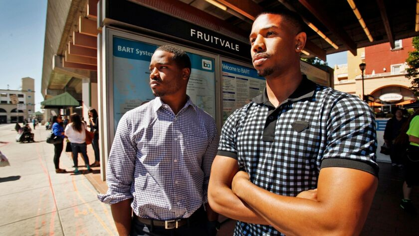 """Fruitvale Station"" and ""Black Panther"" dup — director Ryan Coogler, left, and actor Michael B. Jordan — at the BART Fruitvale Station in Oakland."